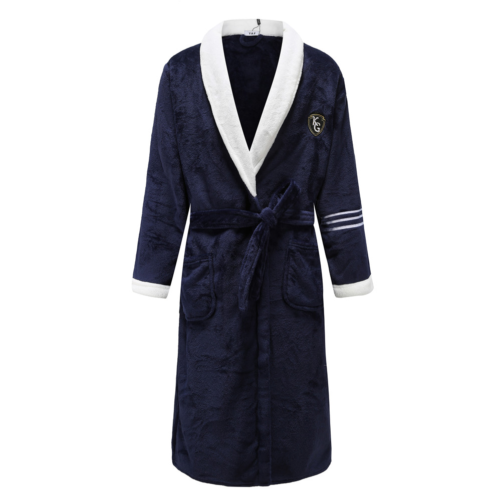 Navy Blue Thicken Flannel Robe Gown For Couple White Turn-down Collar Bathrobe With Belt&pockets Loose Lounge Intimate Lingerie