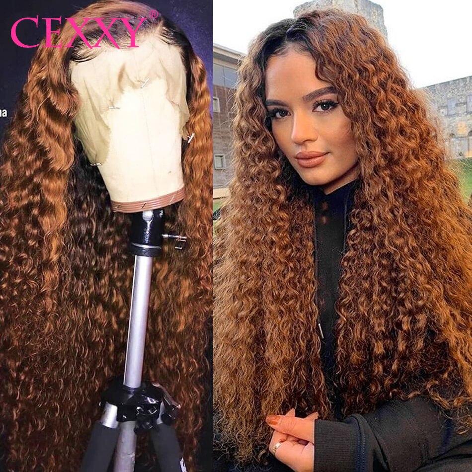 CEXXY saç 1B/30 su dalgası kıvırcık insan saçı peruk Remy vurgulamak Ombre dantel ön İnsan saç peruk derin dalga peruk kadınlar için