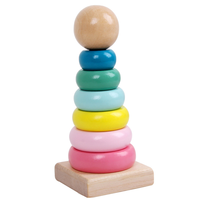 Baby Wooden Toys DIY Rainbow Stacking Ring Tower Stapelring Blocks Toy Kids Threading Beads Game Montessori Toys Early Education