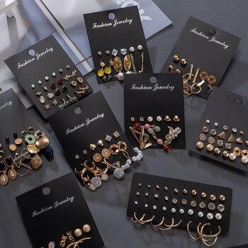 Women's Earrings Korean Stud Earrings for Women Vintage Pearl Butterfly Gold Cross Earring Set 2021 Trend Earings Femauu Jewelry 2