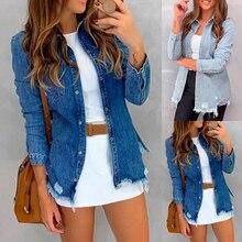 Women Button Down Denim Shirts Vintage Autumn Long Sleeve Turn Collar Jean Jacket Slim Feminime Jaqueta Ripped Coat Outwear