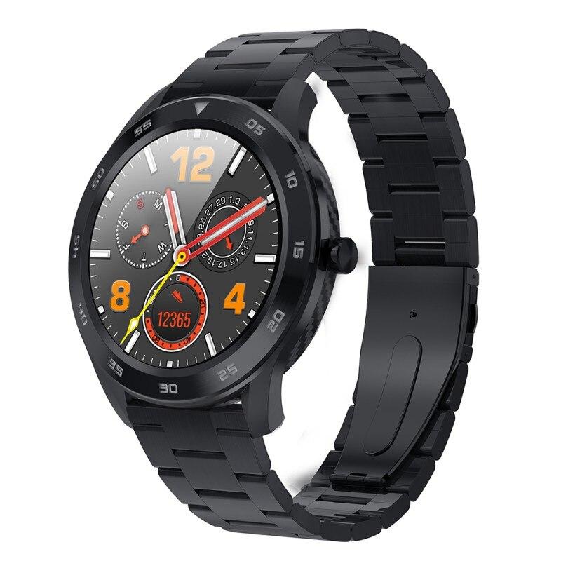 Tela redonda de alta definição toque completo relógio inteligente esportes fitness rastreador monitoramento pressão arterial pulseira|Pulseiras inteligentes| |  - title=