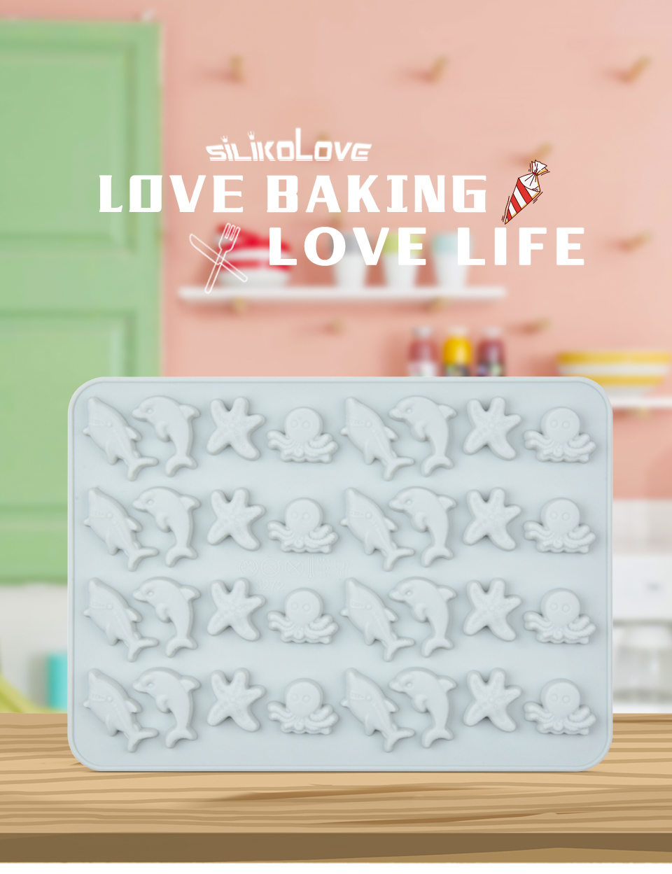 1SILIKOLOVE Fondant Cake Decorating Tools 3D Silicone Mold Miniature Ocean Candy Mold Whale Starfish Octopus Chocolate mould