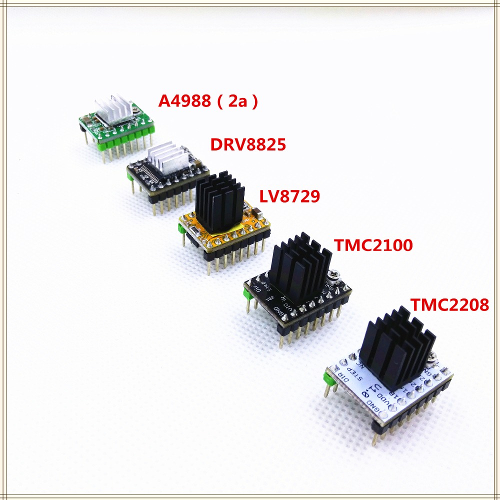 1PCS MKS TMC2208 TMC2100 LV8729 DRV8825 Pololu A4988 Stepper Motor Driver Step Stick Stepping Driver With Heatsink Stepper