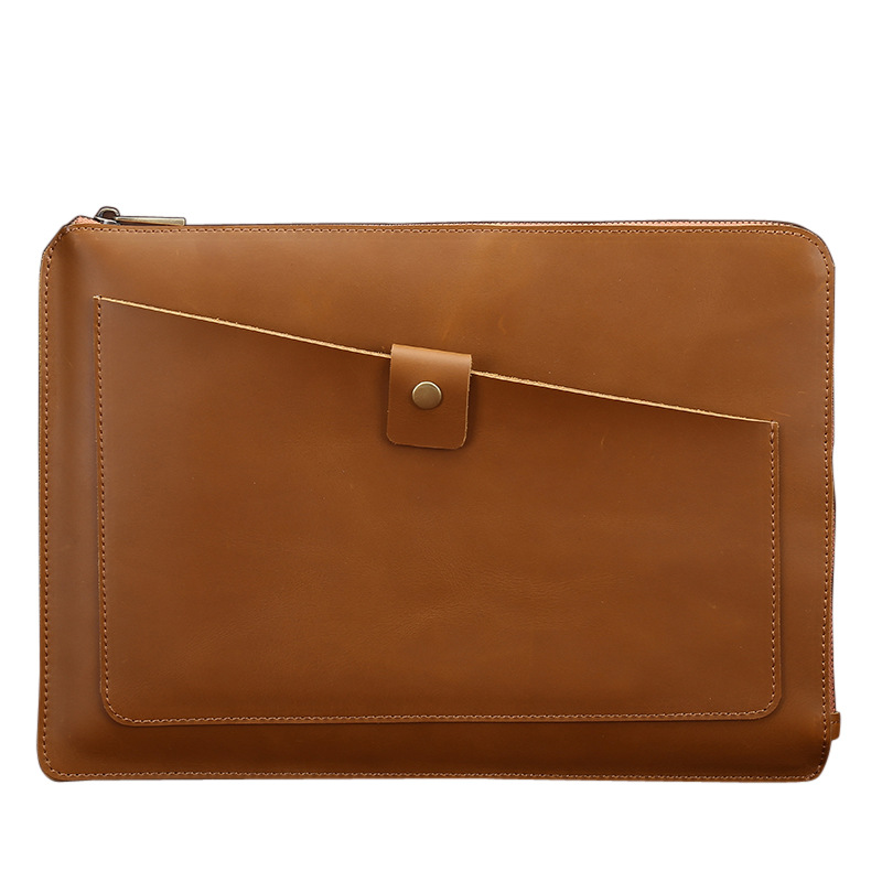 Envelope Handbag Men Bag Messenger Handbag Genuine Leather Briefcase Business Bags Brown Yellow With Zipper Real Cow 57