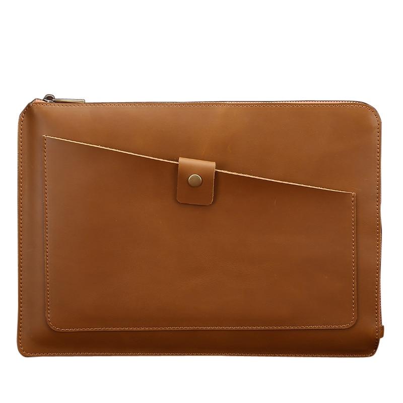 Envelope Handbag Men Bag Messenger Handbag Genuine Leather Briefcase Business Bags Brown Yellow With Zipper Real Cow 57