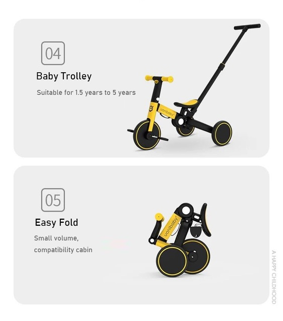 uonibaby 4 into 1 Baby Stroller Pedal Tricycle Two Wheel Balance Bike Trolley | HOTSHOPDIRECT