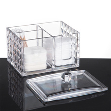 Storage-Box Holder Swabs-Organizer Cotton-Pads Acrylic Diamond-Pattern Transparent Dustproof