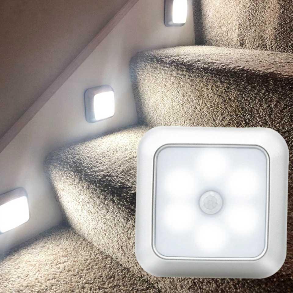 6 светодиодный S PIR датчик движения, ночные светильники, светодиодный ночник для шкафа, датчик заряда батареи, освещение для шкафа, лестницы, прихожей, дома, спальни