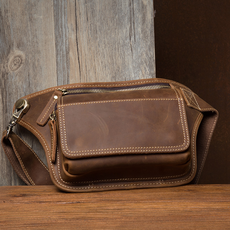 2019 мужская сумка пояс поясная сумка для телефона кошелек на молнии поясная сумка из натуральной кожи Мужские поясные сумки дорожные нагрудные сумки banane Sac - 3
