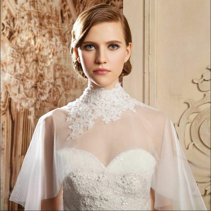 High Collar Wedding Cape Jacket  Lace Bridal Wraps Bolero Pearls Beaded Bride Wrap