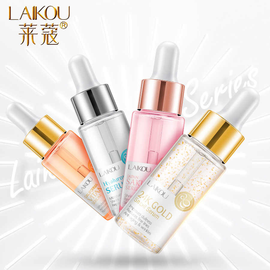 LAIKOU เซรั่มญี่ปุ่น SAKURA Essence Anti-Aging Hyaluronic Acid PURE 24K Gold Whitening Vitamin C ธรรมดาผิว care Face Serum