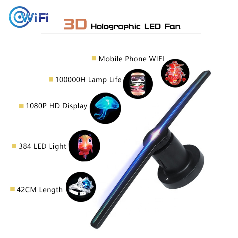 High Resolution 3D Holographic LED Fan AC100-240V Eye Catching Mobile Phone Wifi Control Ad Hologram 3D Player With 16G Memory