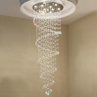 Creative LED Spiral Crystal Chandelier for Foyer Stair Staircase Bedroom Hotel HallCeiling Hanging Suspension Lamp