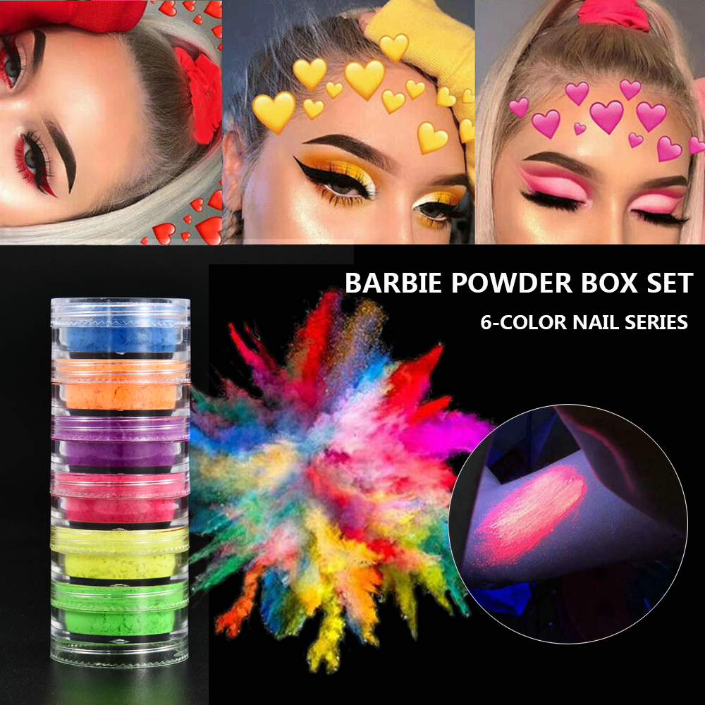 6 Colors Fluorescent Neon Powder Eyeshadow Glitter Matte Shimmer Glow In Dark Eye Shadow Matte Cosmetics Beauty Makeup For Nails