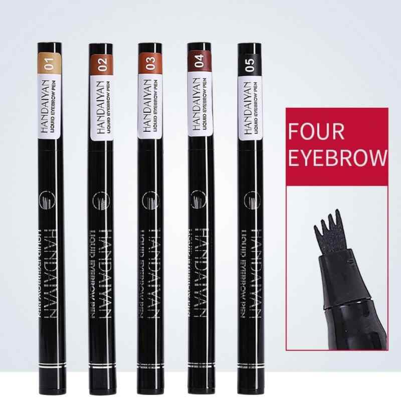 4 cores à prova dwaterproof água natural sobrancelha caneta quatro-garra olho sobrancelha matiz maquiagem quatro cores lápis sobrancelha marrom preto cinza venda quente tslm2