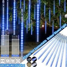 A chuva impermeável do chuveiro de meteoros ilumina 30cm 50cm 8 tubos gota de neve do icicle que cai luzes em cascata para a festa de casamento natal