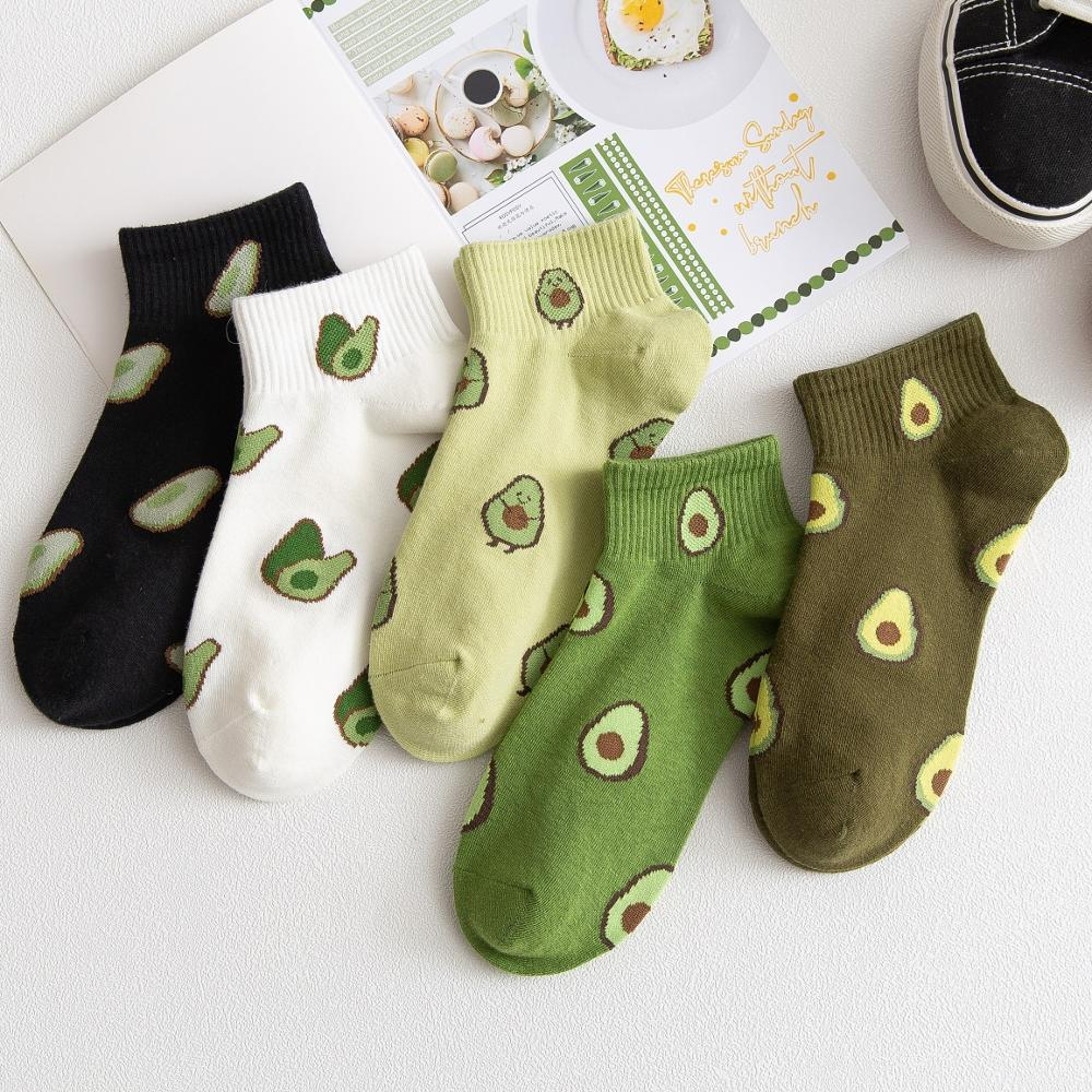 10Pcs=5Pairs/Pack New Cartoon Fruit Ankle Socks Women Summer Japanese Avocado Cute Boat Socks Chic Fashion Low-Cut Cotton Socks