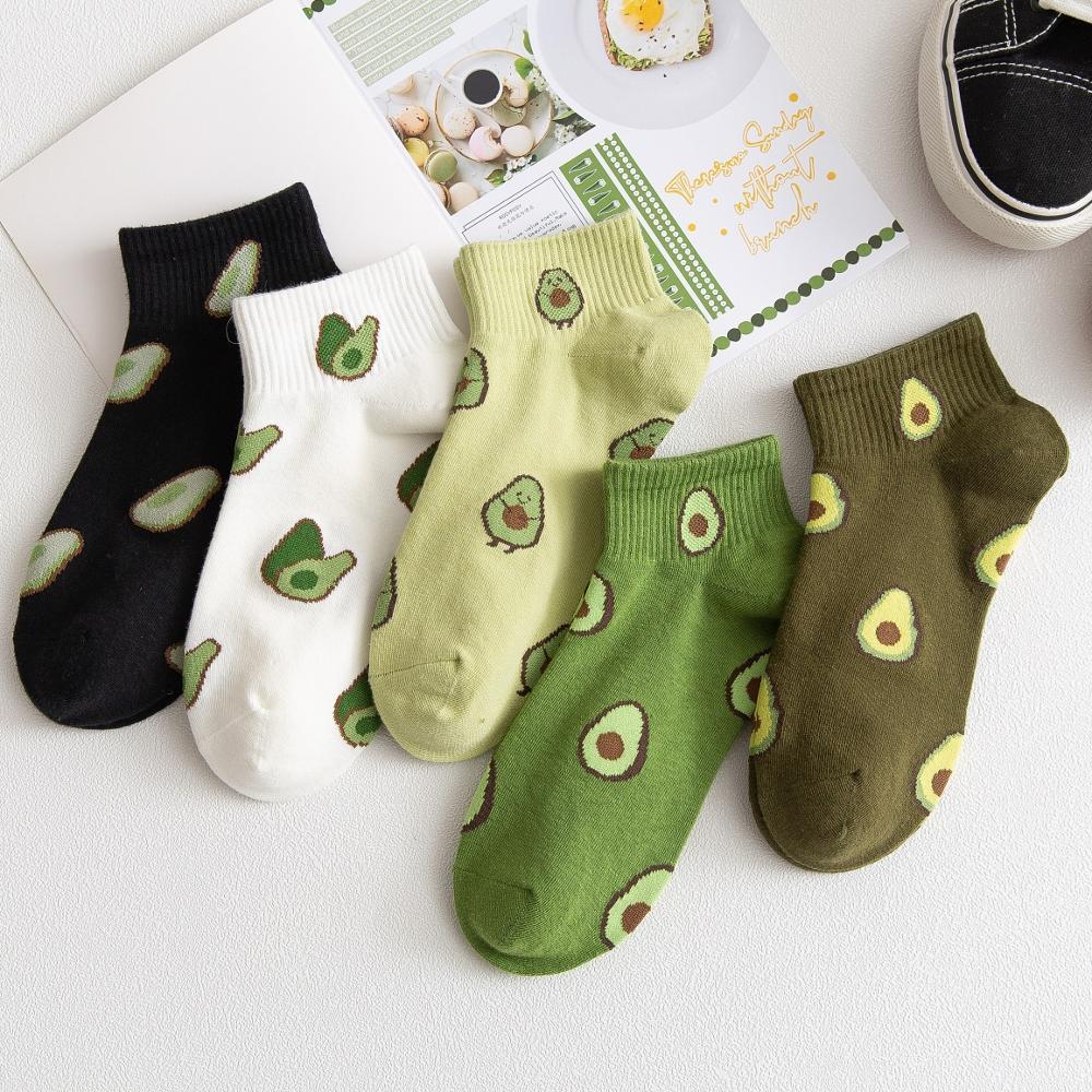 10Pcs=5Pairs/Pack New Cartoon Fruit Ankle Socks Women Summer Japanese Avocado Cute Boat Socks Chic Fashion Low-Cut Cotton Socks