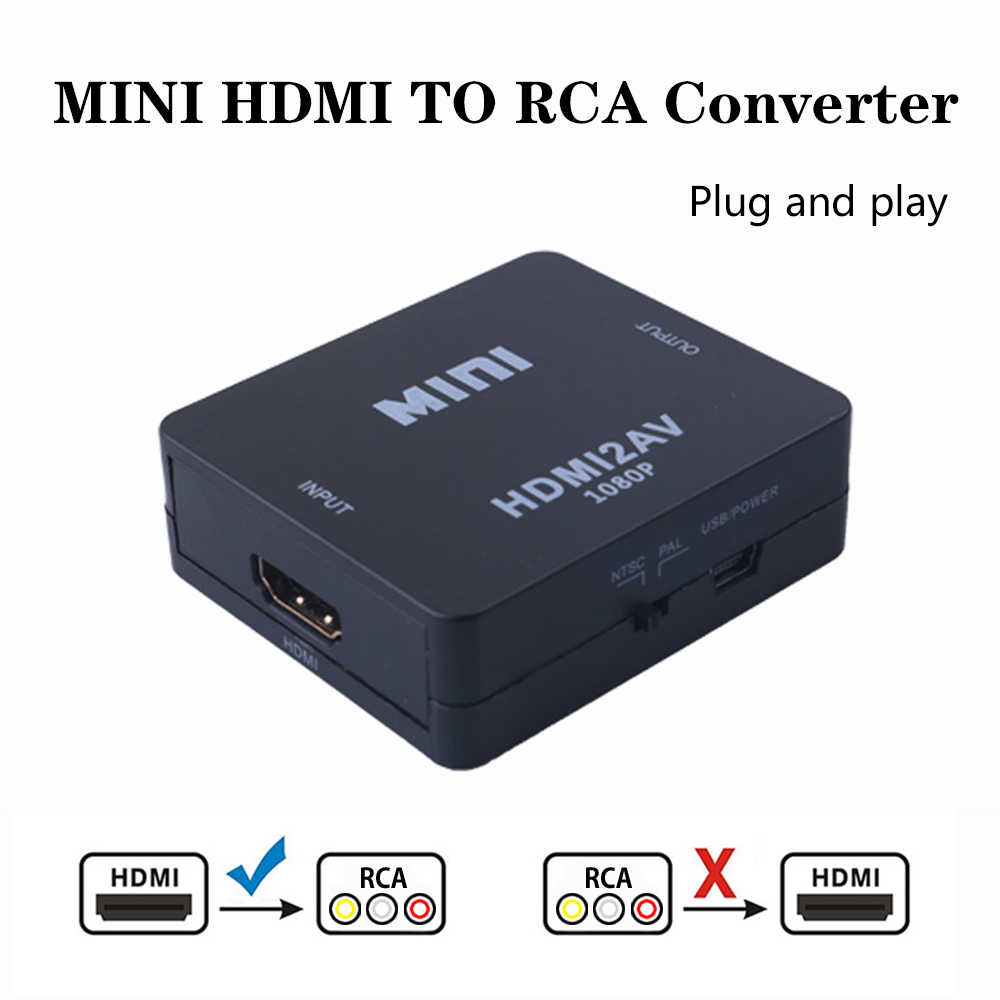 2019 HDMI to AV/RCA CVBS Adapter 1080P Video Converter HDMI2AV Adapter Converter Box Support NTSC PAL Output HDMI AV Adapter