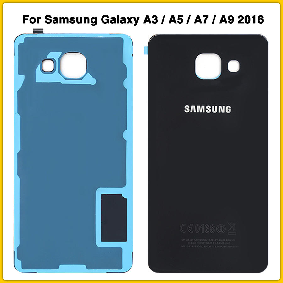 New Rear Housing Case For Samsung Galaxy A3 A5 A7 A9 2016 A310 A510 A710 A910 Battery Back Cover Door Rear Cover With Sticker