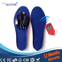 Plantillas calefactoras con USB para hombres, plantillas térmicas con Control remoto, calefactoras de 60 grados para zapatos de mujer de 2000mAh
