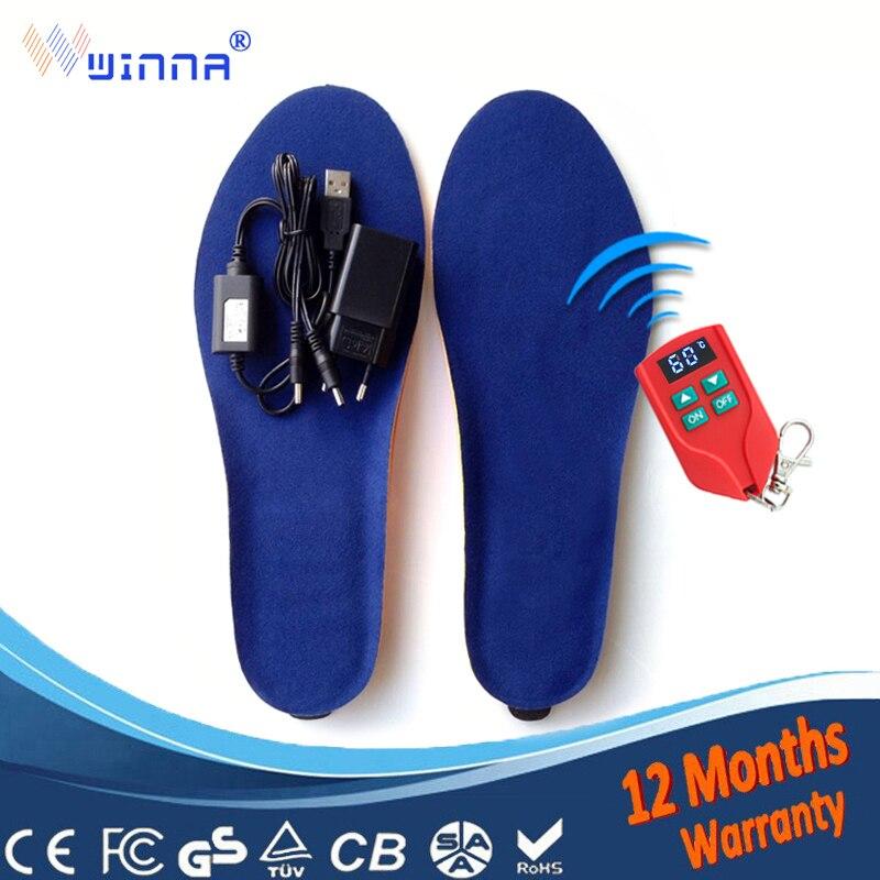 USB Mannen Verwarmde Inlegzolen Elektrische Voet Warmer Afstandsbediening Thermische Inlegzolen 2000mAh vrouwen Schoenen Pads Verwarming 60 Graden inlegzolen-in Inlegzolen van Schoenen op  Groep 1