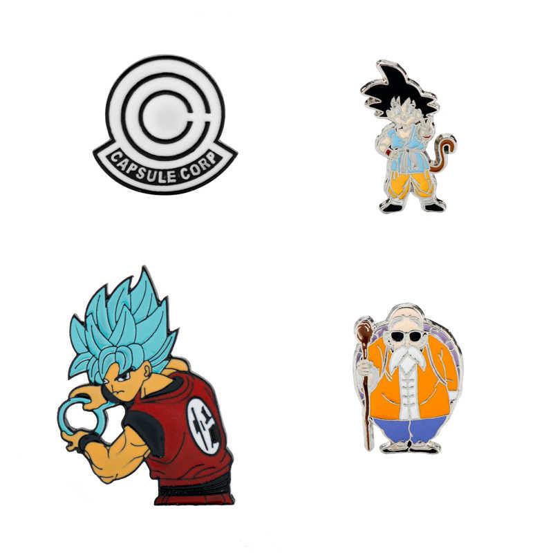Anime Kartun Bros untuk Pria Dragon Ball Enamel untuk Anak-anak Kerah Pin Tas Pin Topi Lencana Wukong Bergerak Susu bros Q1224