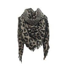 Женский шарф с леопардовым принтом, женский зимний теплый шарф, шаль, треугольные шарфы, Шерстяной палантин, накидка, Женская Пашмина# YJ