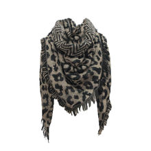 Women Leopard Prined Scarf Laides Winter Warm Wrap Shawl Triangle Scarves Wool Stole Cape Mujer Pashmina #YJ(China)