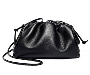 Elegant Genuine Leather Cloud Bucket Fashion Women Cowhide Handbag