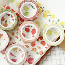1.5cm * 7m Cute Kawaii Fruit Masking Washi Tape DIY Decorative Adhesive Tape For Scrapbooking Decoration cute kawaii lace adhesive washi tape flower decorative masking tape for home decoration photo album free shipping 3645