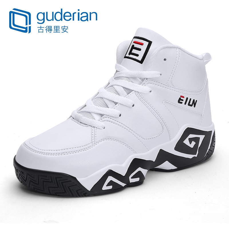 GUDERIAN Mens Fashion Casual Leather Shoes Outdoor Comfortable High-Top Sneakers Lace-Up Hard-Wearing Flat Shoes Men Footwear