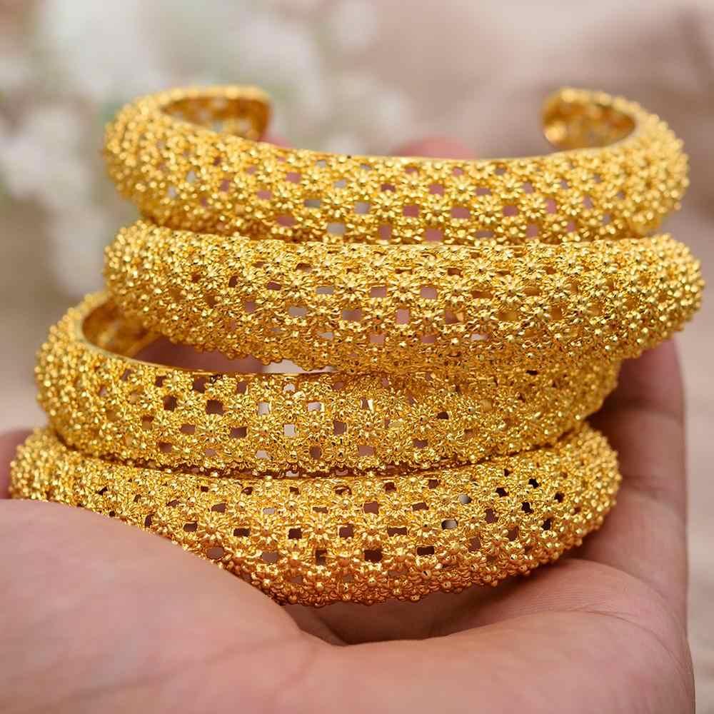 WANDO 4pcs זהב צבע נחושת חתונה צמידים לנשים דובאי הכלה צמיד אפריקאי תכשיטי הרמדאן מזרח התיכון פריטים b143