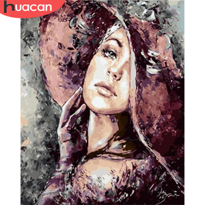 HUACAN DIY Pictures By Number Girl Kits Drawing On Canvas Painting By Numbers Portrait Hand Painted Paintings Gift Home Decor