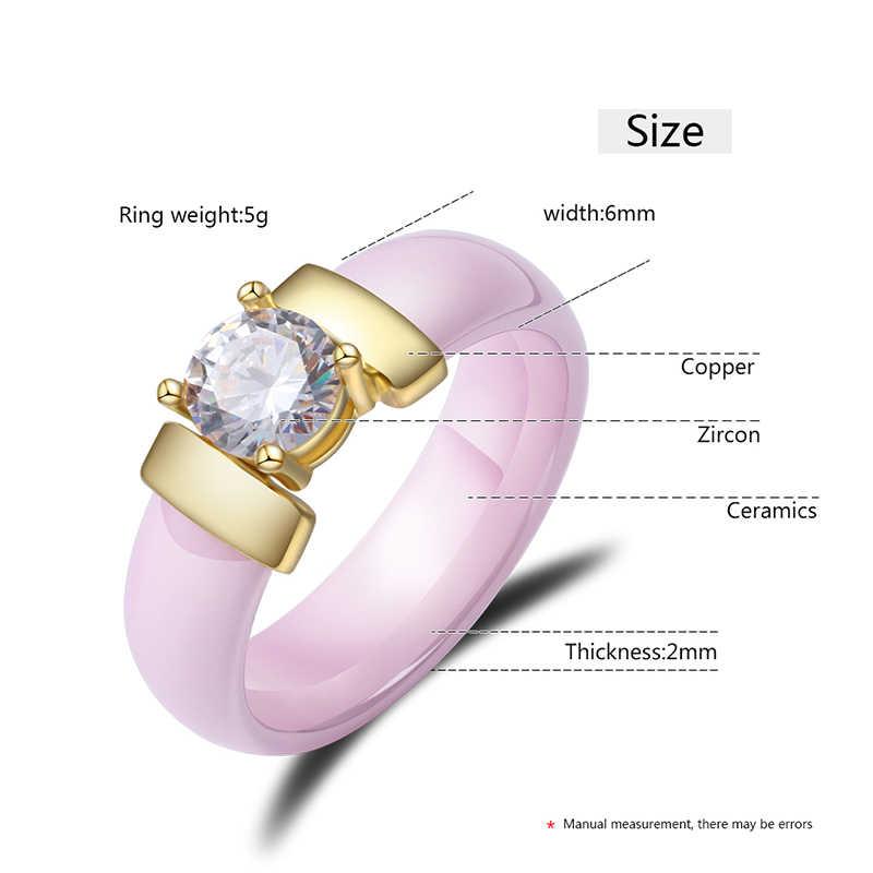 ใหม่สีชมพูสีดำสีขาวเซรามิคแหวนสำหรับหญิงขนาดใหญ่ CZ คริสตัล 6 มม.กว้างไม่เคยเลือน Healthy แหวนผู้หญิงคริสต์มาสของขวัญ