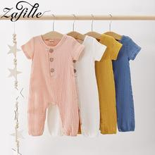 ZAFILLE Summer 2020 Girls Clothing Solid Newborn Infant Clothes Cotton Baby Girl Clothes Short Sleeve Baby Romper Girls Jumpsuit