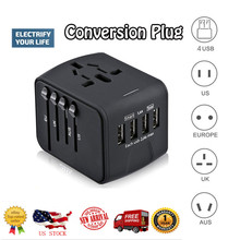 лучшая цена Travel Adapter International Universal Power Adapter All-in-one with 6.3A 4 USB Worldwide Wall Charger for UK/EU/AU/Asia