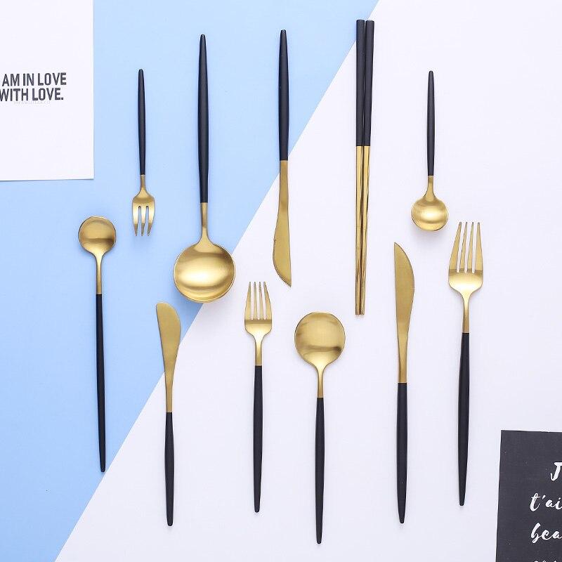 304 aço inoxidável preto conjunto de talheres de ouro louça faca jantar colher garfo pauzinhos salada garfo colher talheres talheres