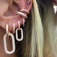 Geoemtric Висячие очаровательные серьги серебро розовое золото цвет iced out 5A cz звено цепи Висячие серьги для женщин