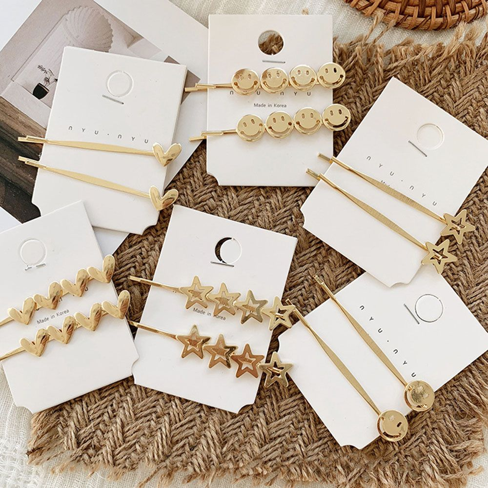 Korea Metal Simple Women Star Hairpins Heart Shape For Party Wedding Daily Applies Snap Clips Decorative Hair Accessories