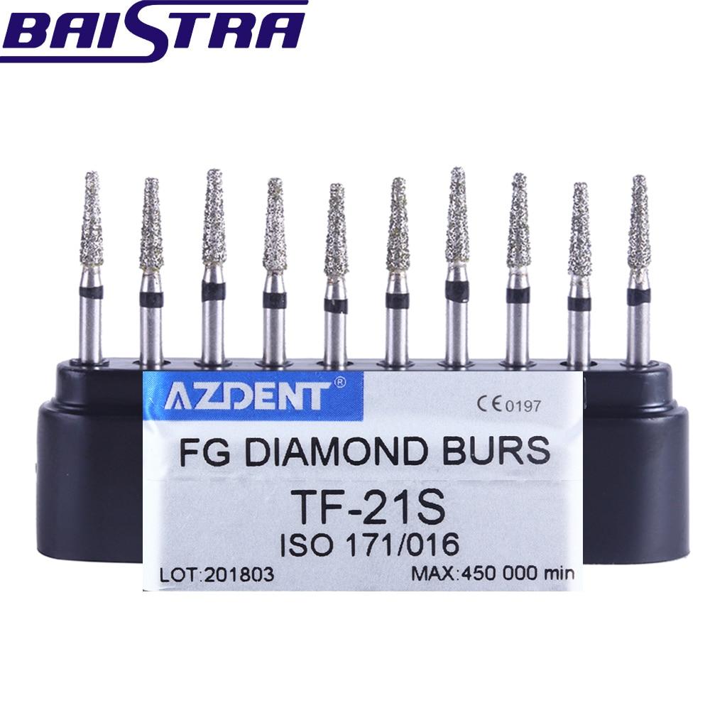 TF-21S 10 Pcs/set Dental High Speed Diamond Burs  Dentist Super Coarse Diamond Dental Lab Tools