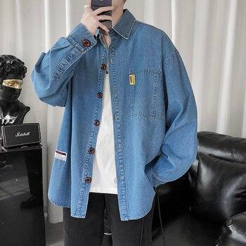 2020 Men's Long Sleeve Blouse Korean Designer Mens Clothing Brands Button Down Denim Shirts with Top Brand Pocket Casual Shirt button down long sleeve pocket shirt