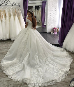Image 3 - Arabic Lace Ball Gown Weddings Dresses lace Off The Shoulder Chapel Wedding gown Sequins Beaded Plus Size Bridal Gown
