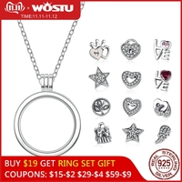 New Arrival 100% 925 Sterling Silver Floating Medium Pendant Necklaces Fit Petite Charms For Women DIY Jewelry CRF001