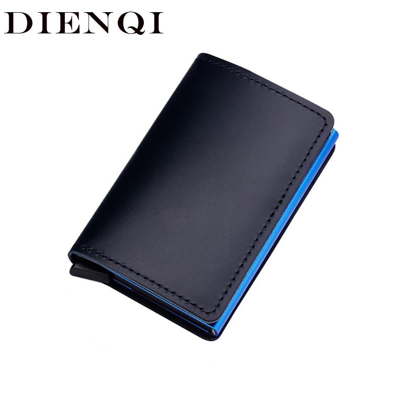 DIENQI Anti-theft Genuine Leather Men Credit Card Holders Business ID Bank Card Case Wallet Automatic RFID Aluminium Cardholder
