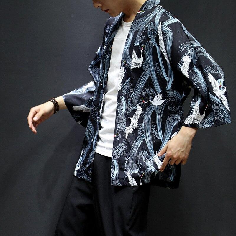 Japanese-style Three-quarter-length Sleeve Kimono Cardigan Thin Half Sleeve Shirt Robes Coat Crane Mantle