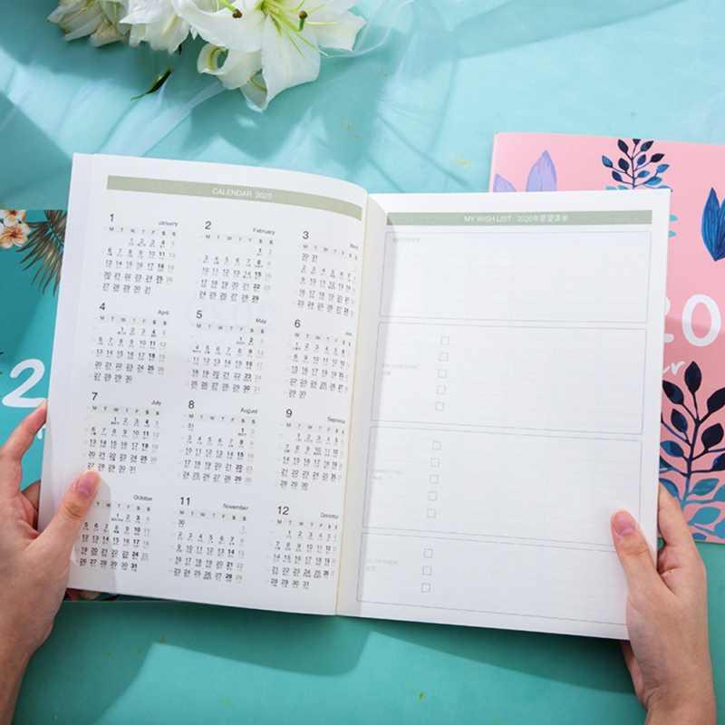 2020 planlayıcısı organizatör A4 defter günlükleri Kawaii aylık haftalık programı yazma kitap DIY 365 gün planı not defteri
