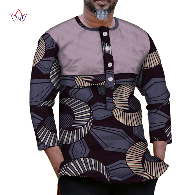New Fashion Autumn African Wax Print Wrist Sleeve Top Shirts For Men Bazin Riche Shirts Dashiki African Style Clothing WYN1040
