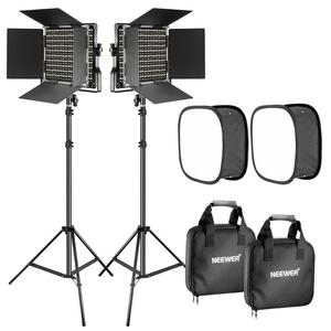 Neewer 2 Packs 660 LED Video Light with Stand and Softbox Kit: (2)3200-5600K Dimmable CRI96+ Light with U Bracket and Barndoor